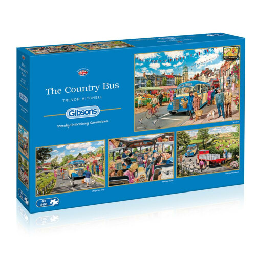 Gibsons The Country Bus 4x 500pc Puzzles