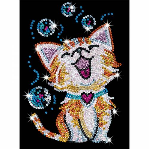 Sequin Art Limited. Sequin Art Red Bubbles The Kitten 1602