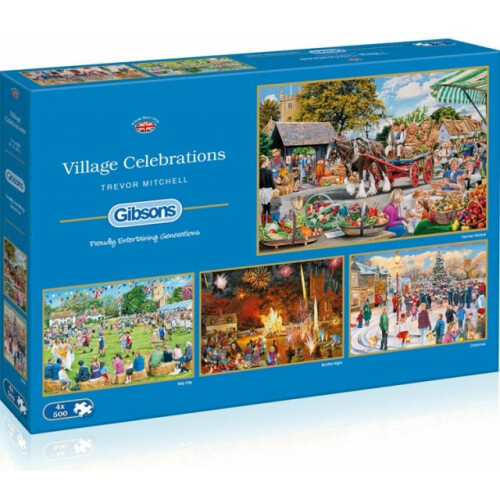 Gibsons Village Celebrations 4x 500pc Puzzles