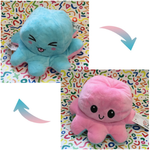 Reversible Octopus Plush - Funny Blue / Happy Pink