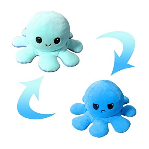 Flippable Octoplush - Happy Light Blue / Angry Blue