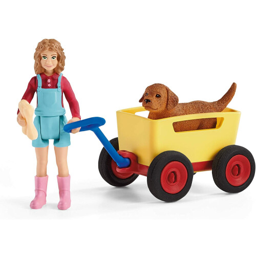 Schleich Farm World 42543 Puppy Wagon Ride