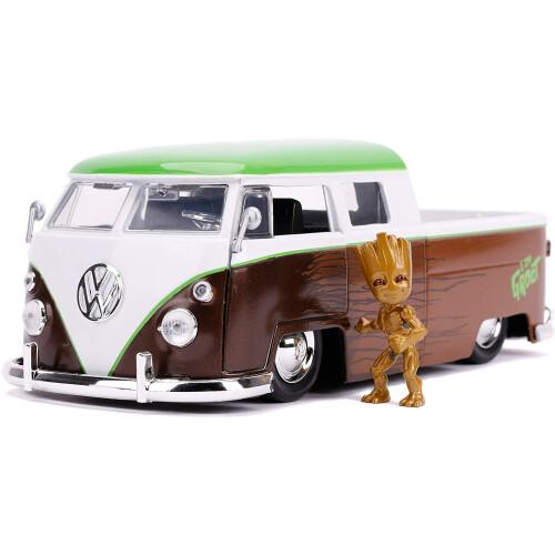 Marvel Guardians Of  The Galaxy Groot & 1963 VW Bus Pickup 1:24 Die Cast
