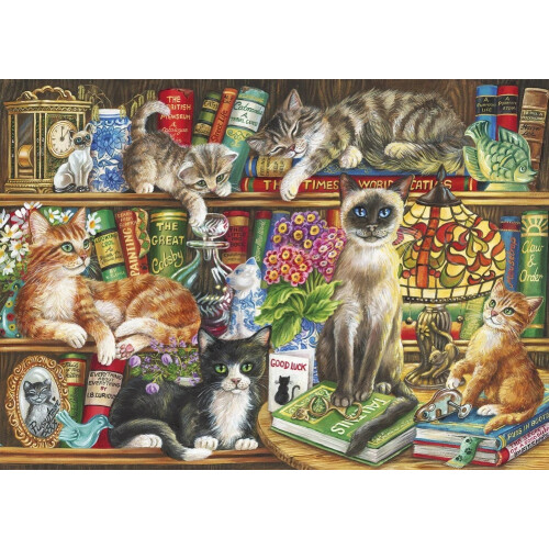 Gibsons Puss in Books 1000pc Puzzle