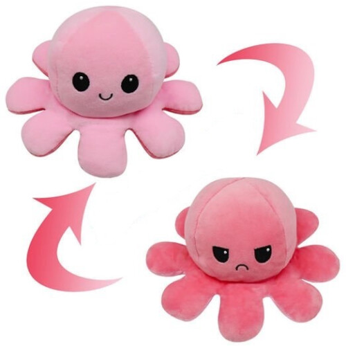 Flippable Octoplush - Happy Light Pink / Angry Pink