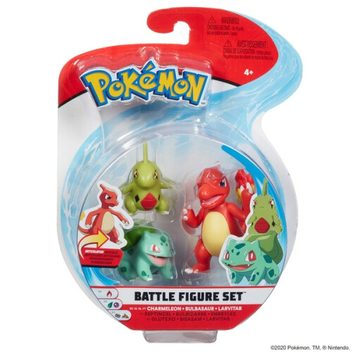 Pokemon Battle Figure Set - Charmeleon Bulbasaur Larvitar