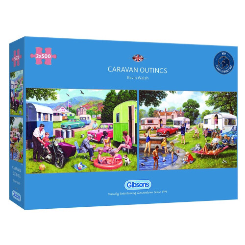 Gibsons 2x500 Piece Jigsaw Puzzles - Caravan Outings