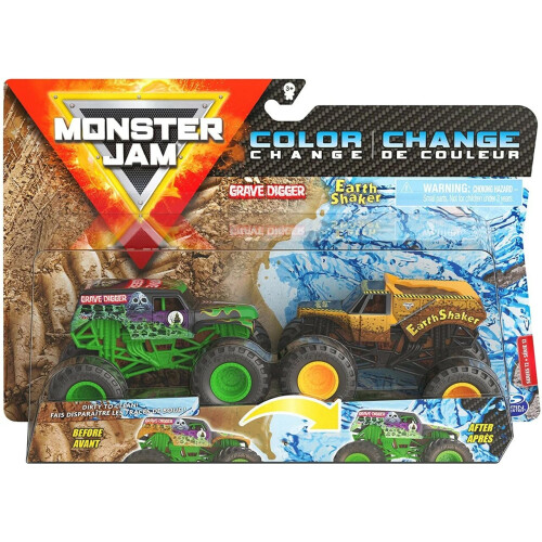 Monster Jam 1:64 Colour Change 2 Pack - Grave Digger vs Earth Shaker