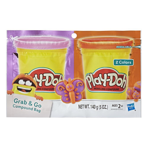 Play-Doh Grab & Go Compound Bag - Purple & Orange