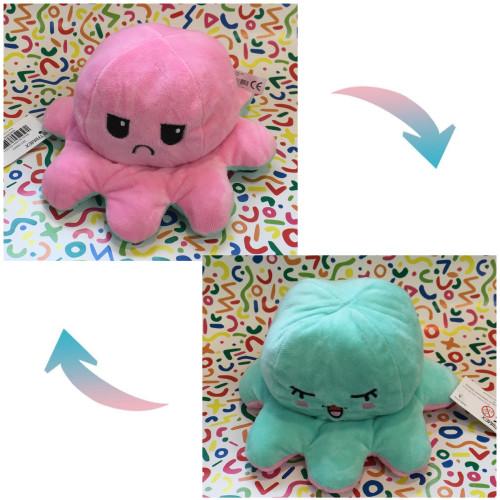 Reversible Octopus Plush - Sad Pink / Teal Bliss