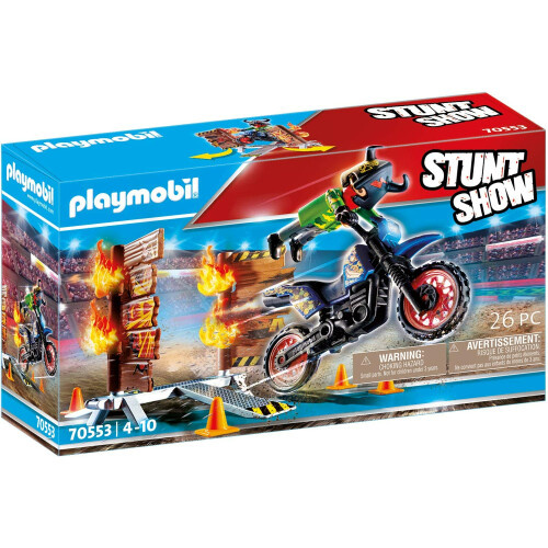 Playmobil 70553 Stunt Show Motocross With Fiery Wall