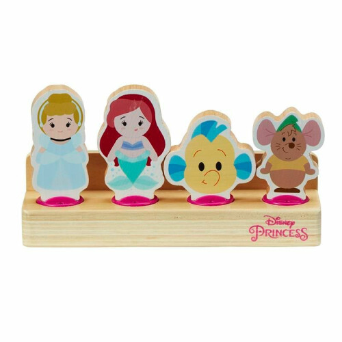 Disney Princess Wooden 4 Figure Set - Ariel & Flounder, Cinderella & Gus Gus
