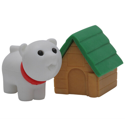 Iwako Puzzle Eraser - Dog with Kennel (Green)