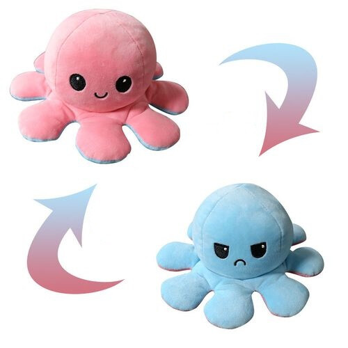 Flippable Octoplush - Happy Light Pink / Angry Teal