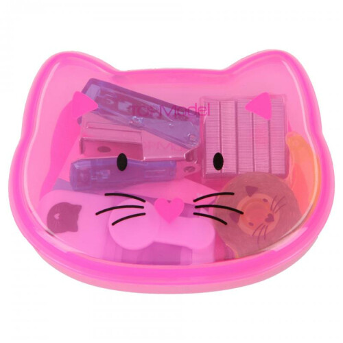 Depesche Top Model Mini Desk Set In Cat Box - Bright Pink