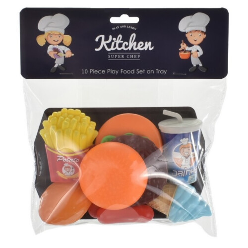 Kitchen Super Chef - 10 Piece Play Food Set on Tray