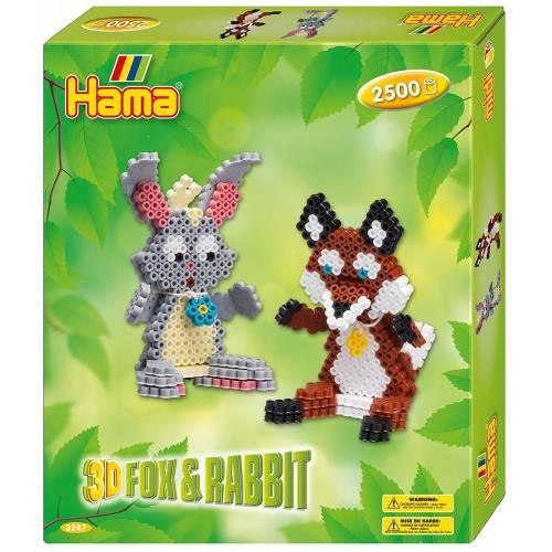 Hama Beads 3247 3D Gift Box Fox & Rabbit