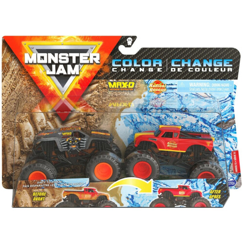 Monster Jam 1:64 Colour Change 2 Pack - Max-D vs Radical Rescue