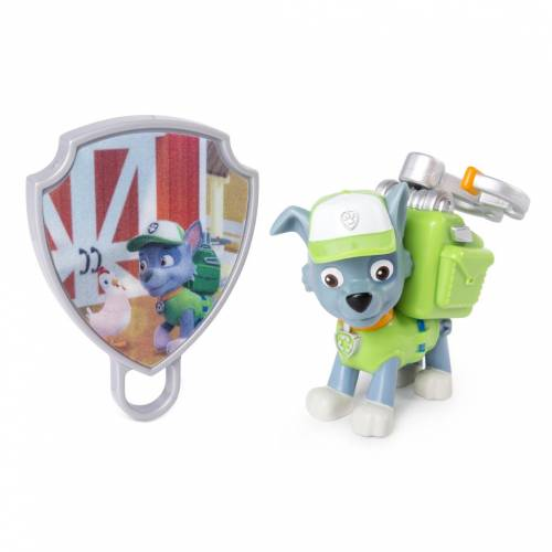 Paw Patrol Action Pack Pup with Extendable Hook and Badge - Rocky