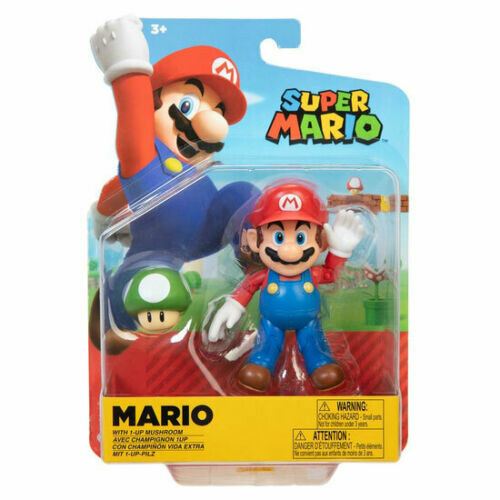 Super Mario 4 Inch Figures - Mario With 1up Mushroom