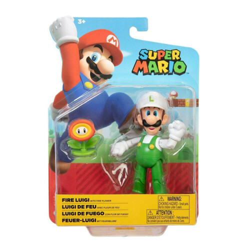 Super Mario 4 Inch Figures - Fire Luigi