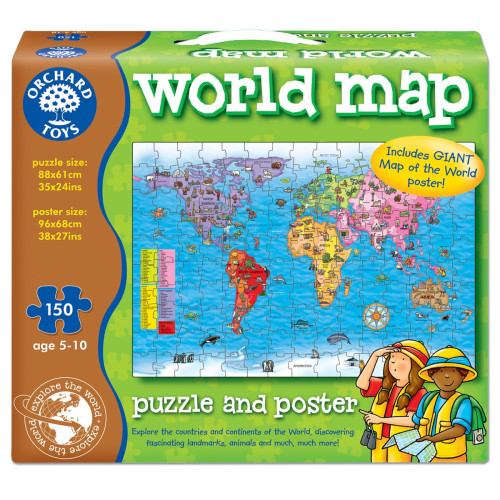 Orchard World Map Puzzle and Poster