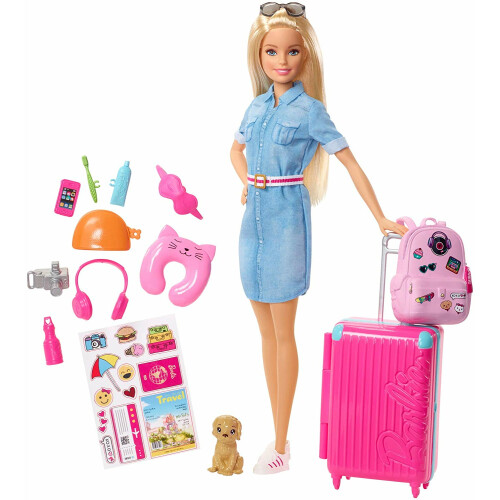 Barbie Doll and Travel Set with Puppy