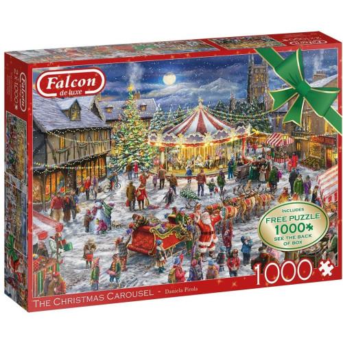 Falcon de luxe The Christmas Carousel 2x 1000pc Jigsaw Puzzles