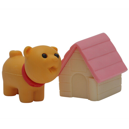Iwako Puzzle Eraser - Dog with Kennel (Pink)