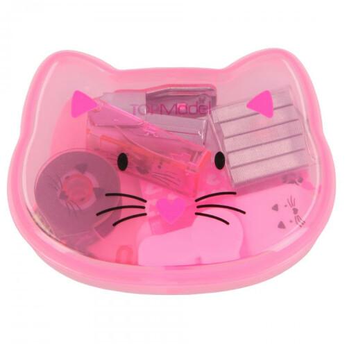 Depesche Top Model Mini Desk Set In Cat Box - Light Pink