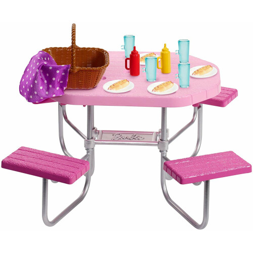 Barbie Accessory Pack - Outdoor Furniture Pink Picnic Table