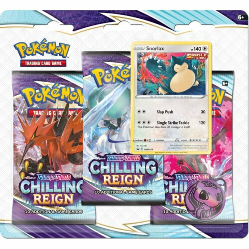 Pokemon TCG Sword & Shield Chilling Reigns 3 Pack Blister Snorlax