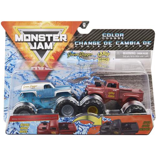 Monster Jam 1:64 Colour Change 2 Pack - Grave Digger The legend vs Grave Digger