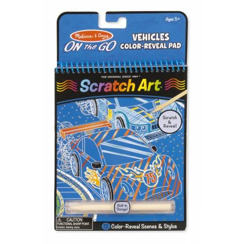 Melissa & Doug Scratch Art Vehicles Colour-Reveal Pad