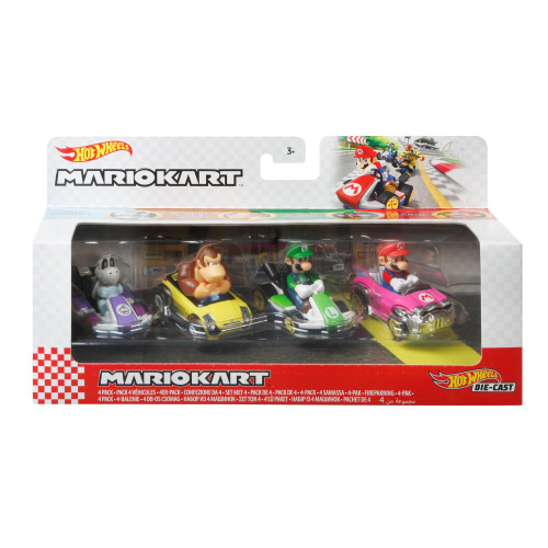 Hot Wheels Mario Kart 4 Pack - Mario, Luigi, Donkey Kong, Dry Bones