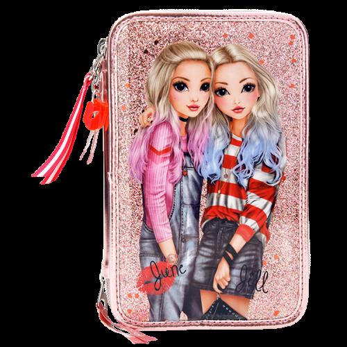 Depesche Top Model 3-Tier Pencil Case Friends Pink