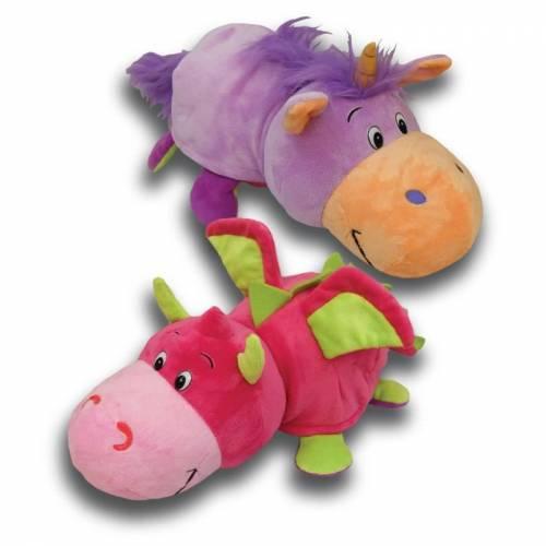 "FlipaZoo 16"" Plush - Lavender Unicorn / Pink Dragon"