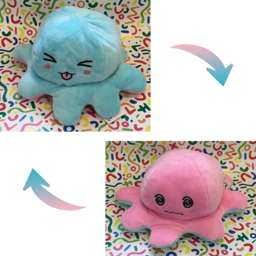 Reversible Octopus Plush - Funny Blue / Confused Pink