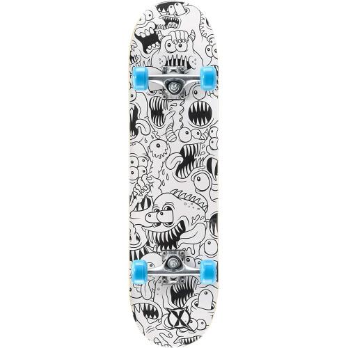 "Xootz Kids 31"" Double Kick End Skateboard - Maple Deck Colour Your Own Skateboard"