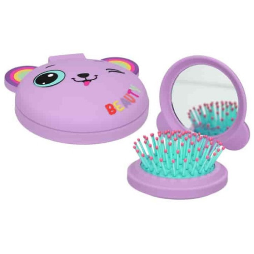 Depesche Ylvi and the Minimoomis Folding Hairbrush with Mirror - Purple