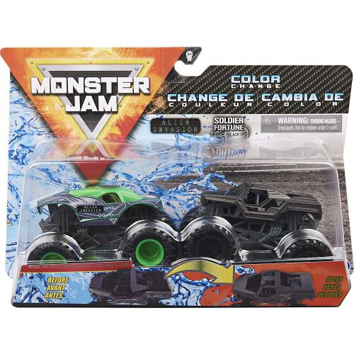 Monster Jam 1:64 Colour Change 2 Pack - Alien Invasion vs Soldier Fortune Black Ops