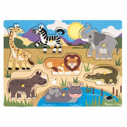 Melissa & Doug Safari Wooden Peg Puzzle