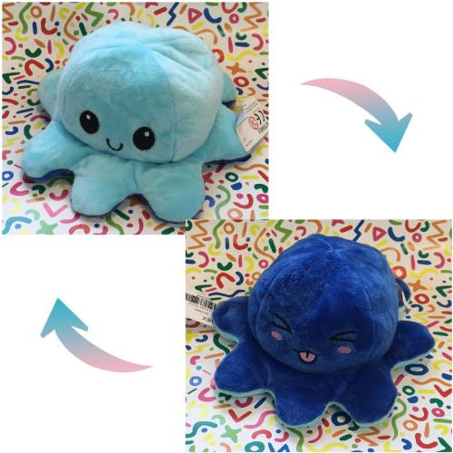 Reversible Octopus Plush - Happy Blue / Funny Dark Blue