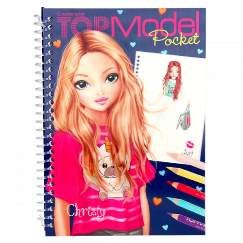 Depesche Top Model Pocket Colouring Book with 3D Cover - Christy