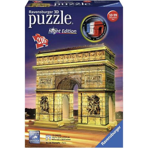 Ravensburger 216pc 3D Jigsaw Puzzle Arc De Triomphe - Night Edition