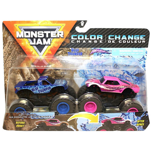 Monster Jam 1:64 Colour Change 2 Pack - Blue Thunder vs Full Charge