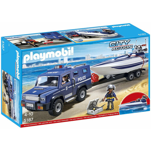 Playmobil City Action 5187 Police Truck with Speedboat