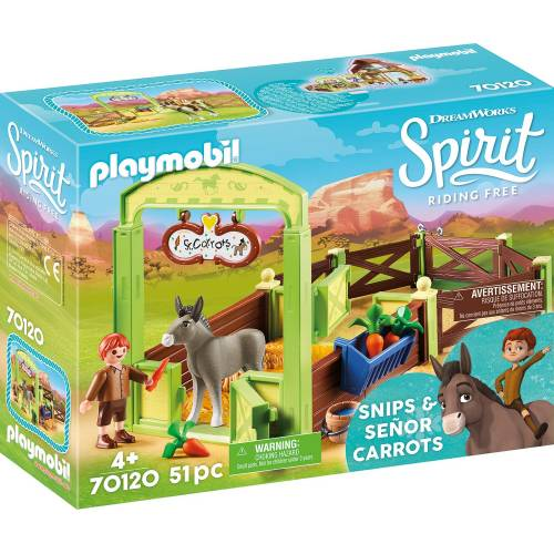 Playmobil Spirit 70120 Snips & Señor Carrots with Horse Stall