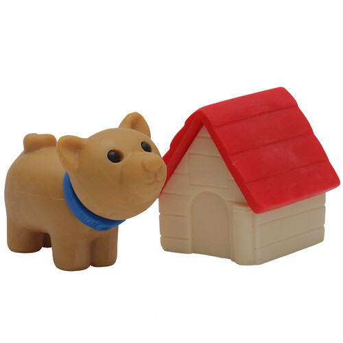 Iwako Puzzle Eraser - Dog with Kennel (Red)