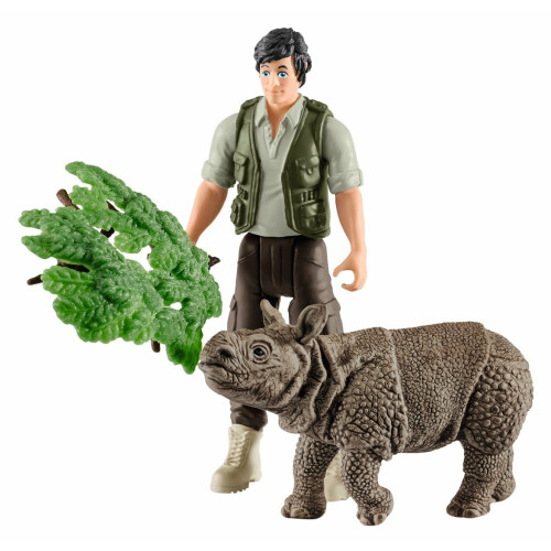 Schleich Wild Life 42428 Ranger and Indian Rhinoceros